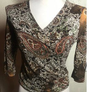 Only Nine Brown Knit Sequin Top Size S